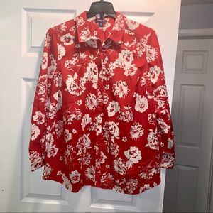 Roaman's 20W Red and White Floral Button Down